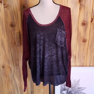Free People black and red burn out top